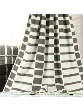 Elegant Fluffy Stripe Pattern Dull Color Bath Towel