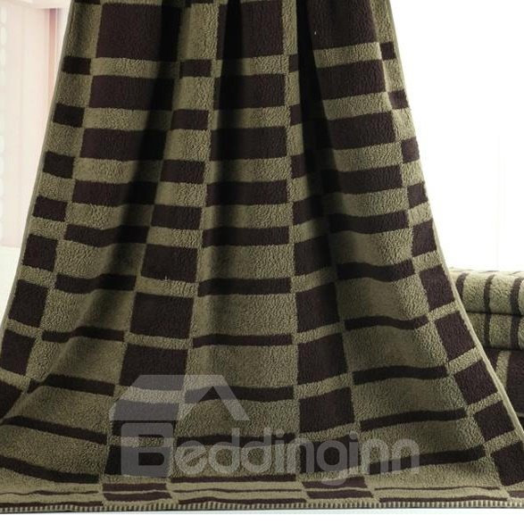 Elegant Fluffy Stripe Pattern Dull Color Bath Towel
