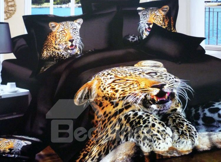 Golden Leopard with Black Ground Pattern 4-Piece Cotton Duvet Cover Sets