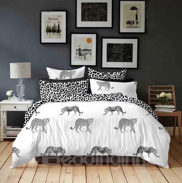 Black and White  Leopard Print 4-Piece Cotton Duvet Cover Sets