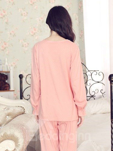 Elegant Soft Lace Trim 100% Pure Cotton Pajamas Set