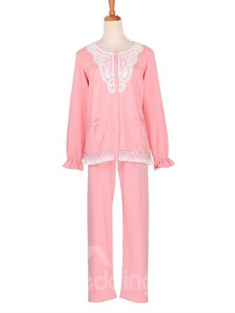 Elegant Soft Lace Trim 100% Pure Cotton Pajamas Set