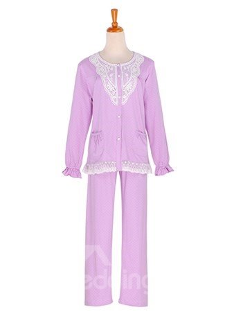 Elegant Light Purple Soft Lace Trim 100% Pure Cotton Pajamas Set