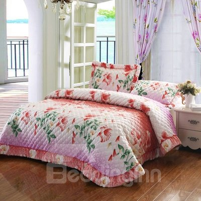 Romantic Full Blooming Beautiful Flowers Pattern Bed in a Bag