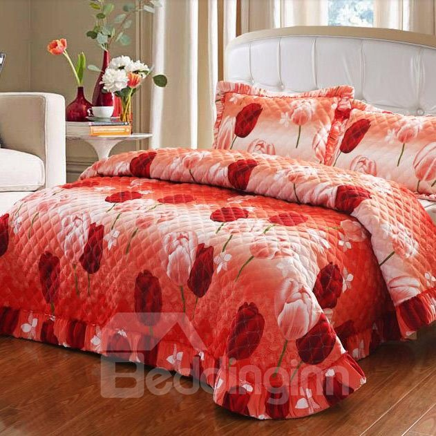 Dreamlike Red Tulip Bud Pattern Orange Flower Bed in a Bag Set
