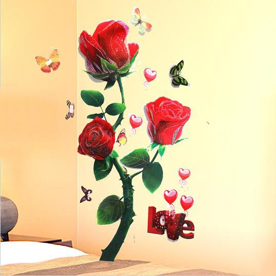 Beautiful and Delicay Removable Red Rose Pattern Large 3D Wall Stickers