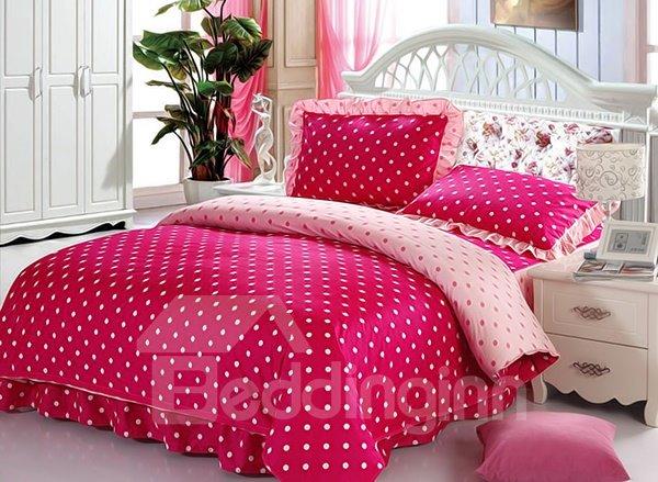 Bright Red Polka Dot Pattern Cotton Duvet Cover Sets Beddinginn Com