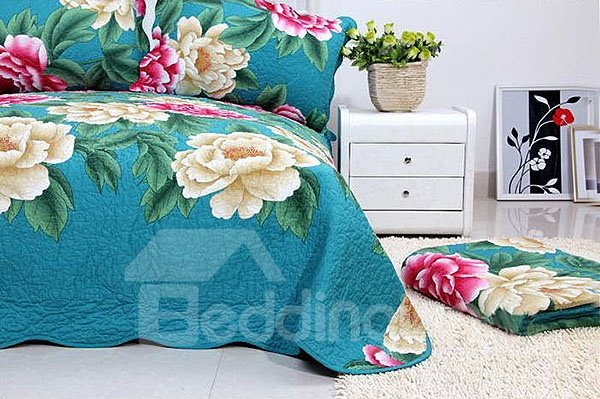 Red and Beige Blooming Peonies Flowers Print Cotton 4-Piece Bedding Sets/Duvet Cover