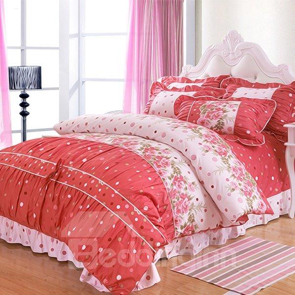 Beautiful Floral Pattern 4-Piece Cotton Princess Duvet Cover Sets