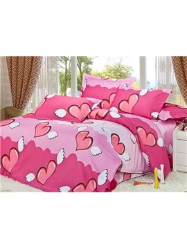 Pink Angel Heart Print 4-Piece Duvet Cover Sets