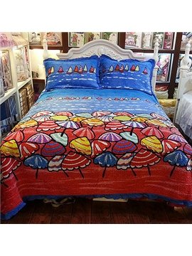 Wonderful Bright Beautiful Color Umbrella and Boat Pattern Bed in a Bag
