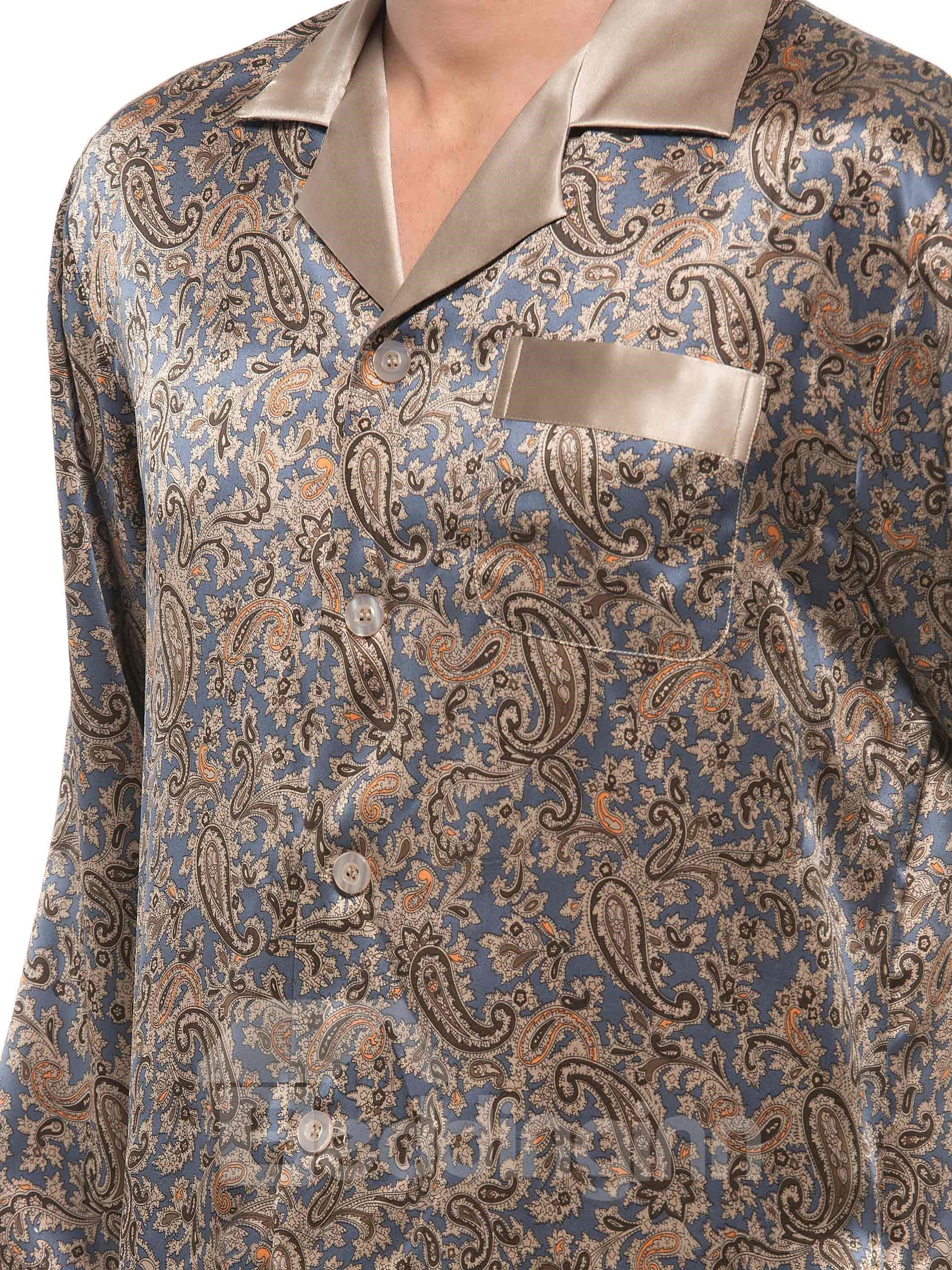 Classic Popular Notched Collar Banded Cuffs Floral Pattern Silk Pajamas