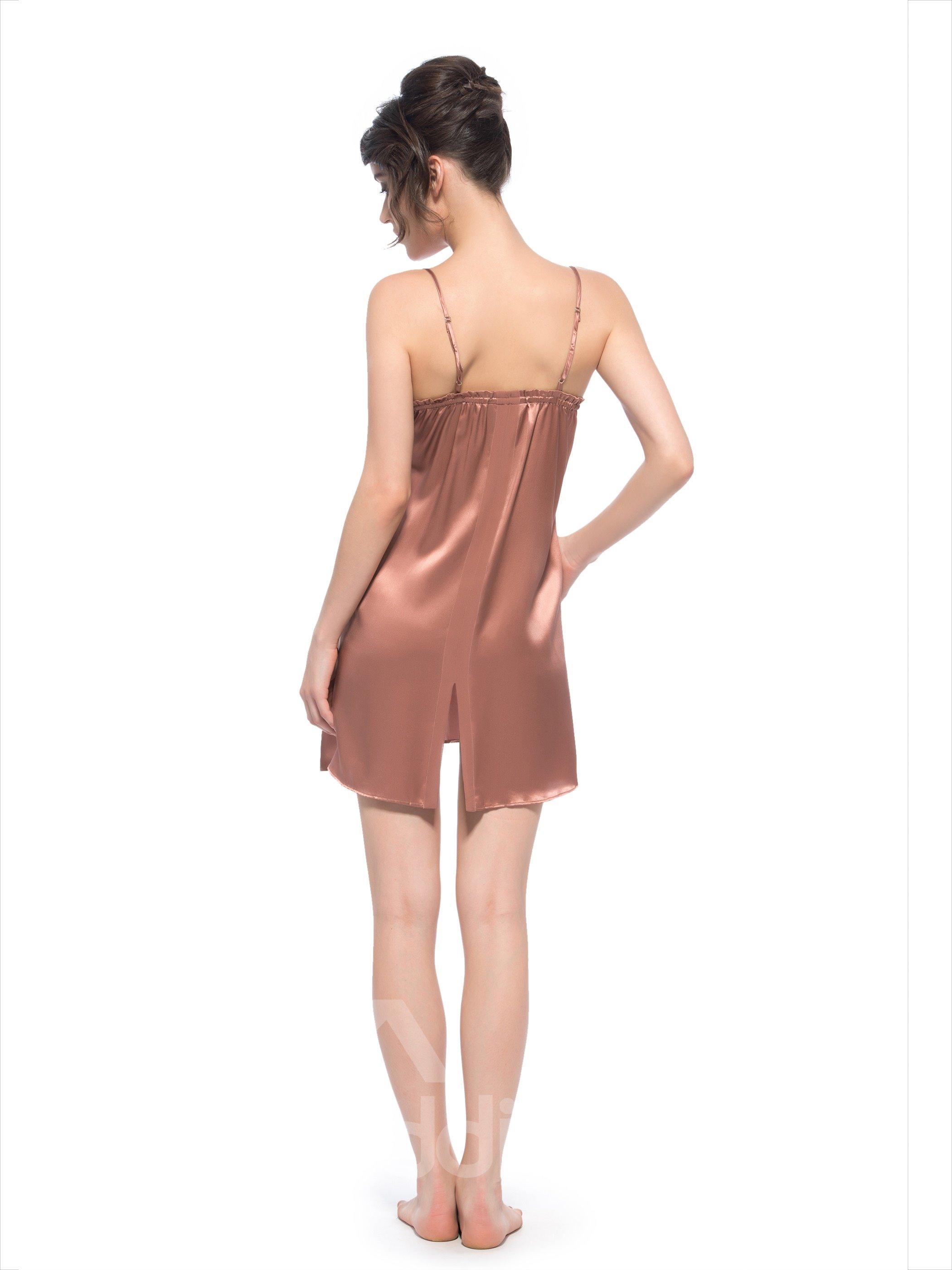 Delicate Open Back Hem Adjustable Built-up Strap Silk Chemise