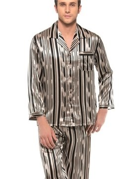Long Sleeve Stylish Stripes Open Collar Silk Pajamas