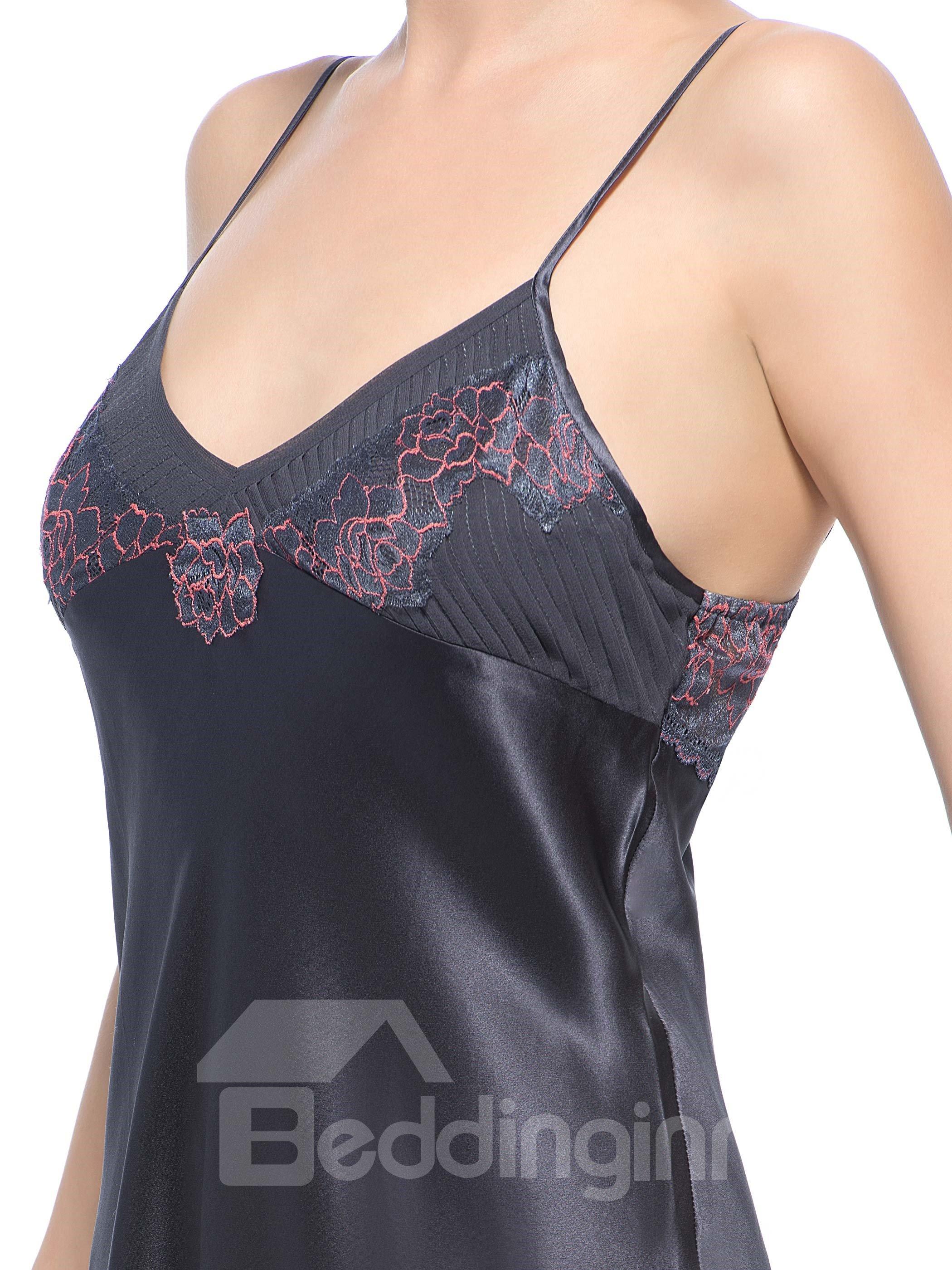 Amazing Embroidery Bust Lace Edged Hem Dark Gray Silk Chemise