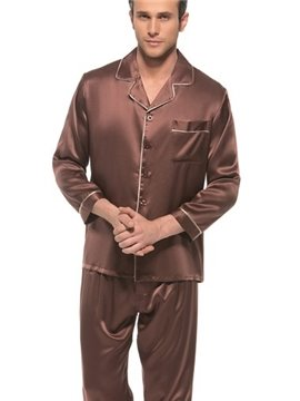 Concise Design Pure Color Hemming Edge Long Sleeve Silk Pajamas