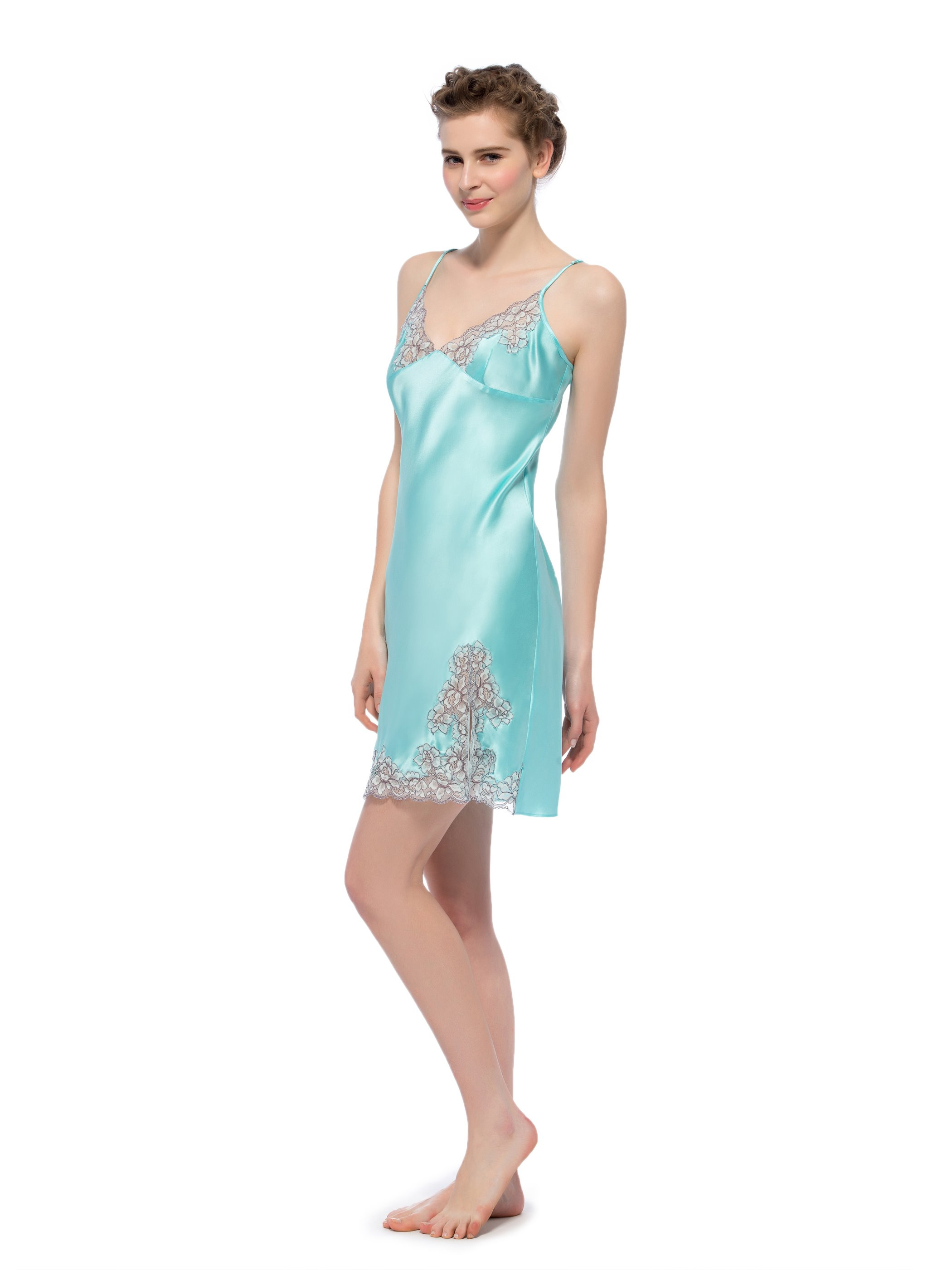 Embroidery Bust Side Vent Spaghetti Strap Silk Chemise