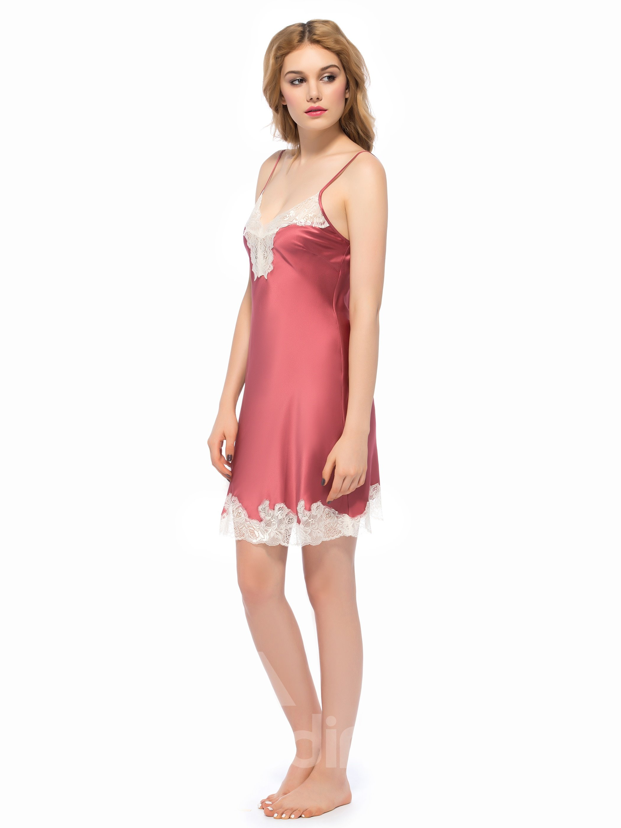 Charming White Wide Lace Trim Spaghetti Strap Bust and Hem Chemise