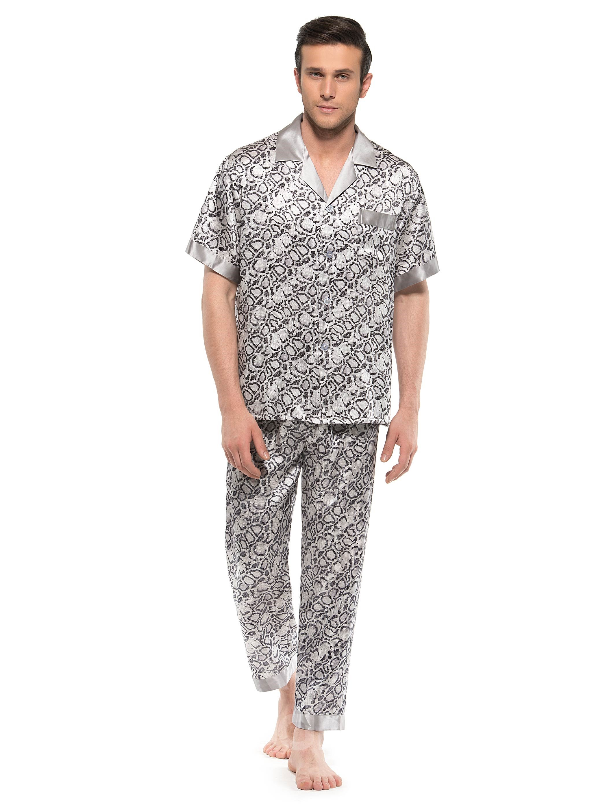 Stylish Snake Skin Pattern Short Sleeve Open Collar Silk Pajamas