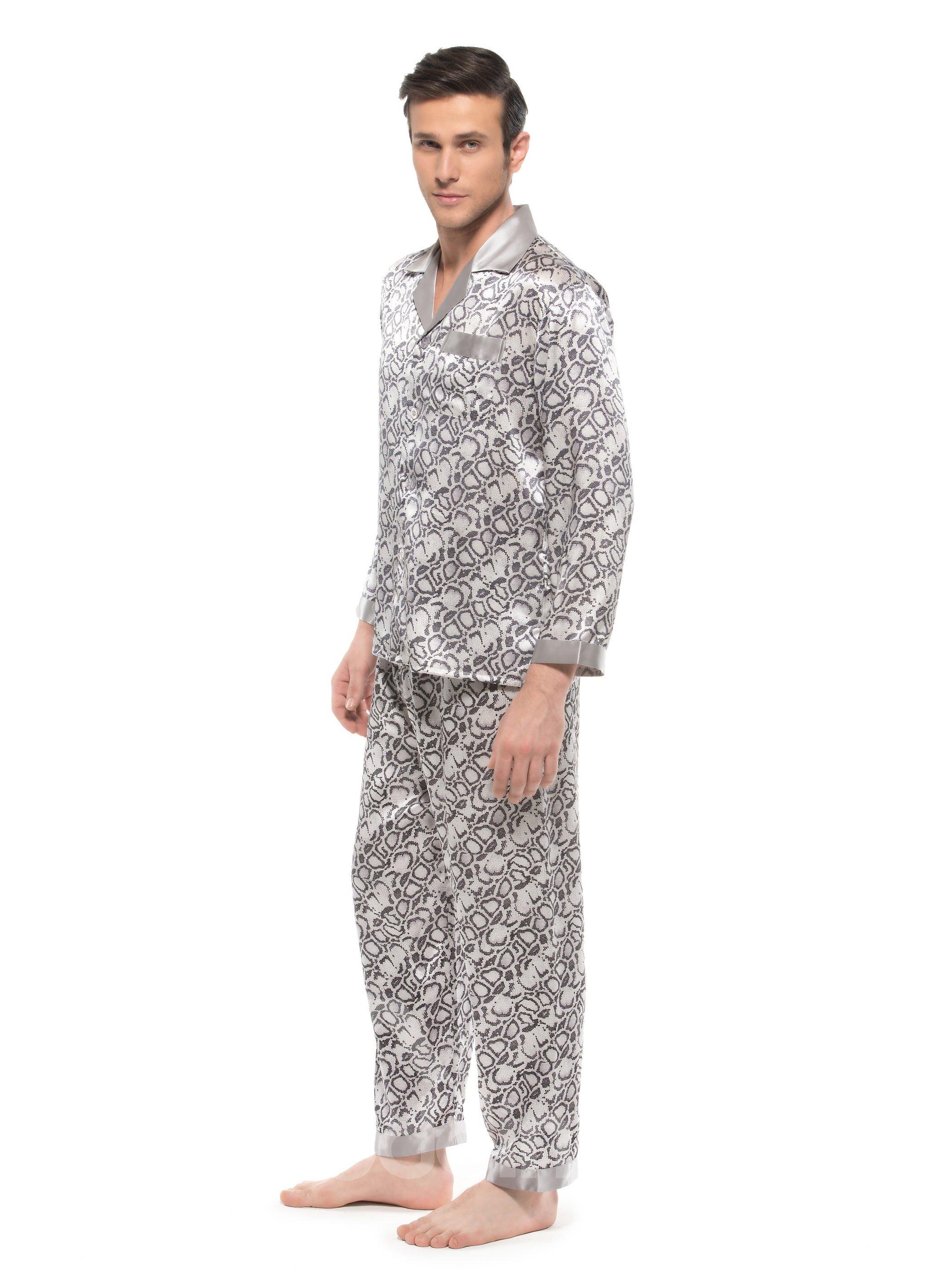 Fashionable Snake Skin Pattern Open Collar Silk Men Pajamas
