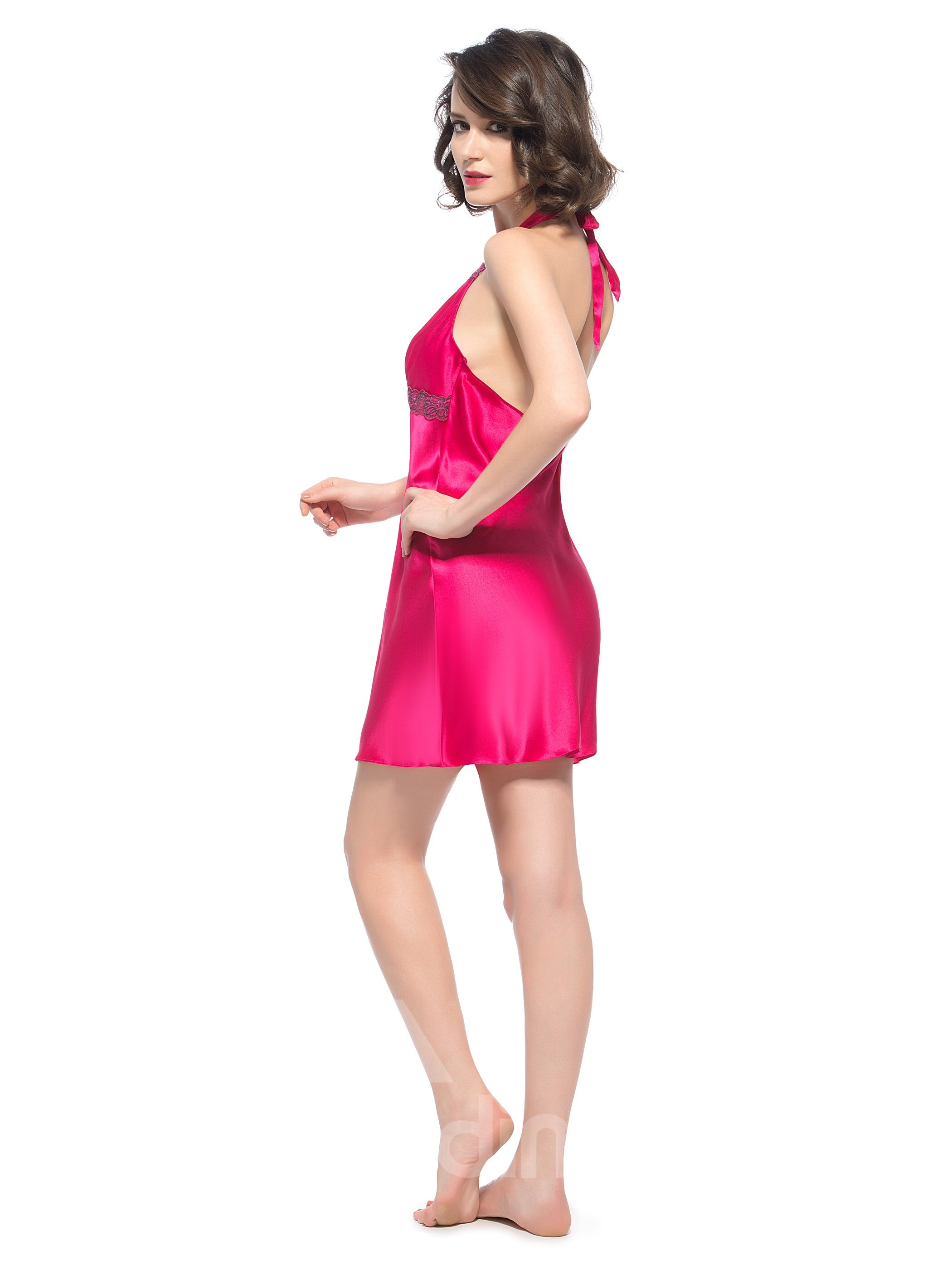 Bright Color Wide Bow Tie Strap Behind Neck Open Back Silk Chemise