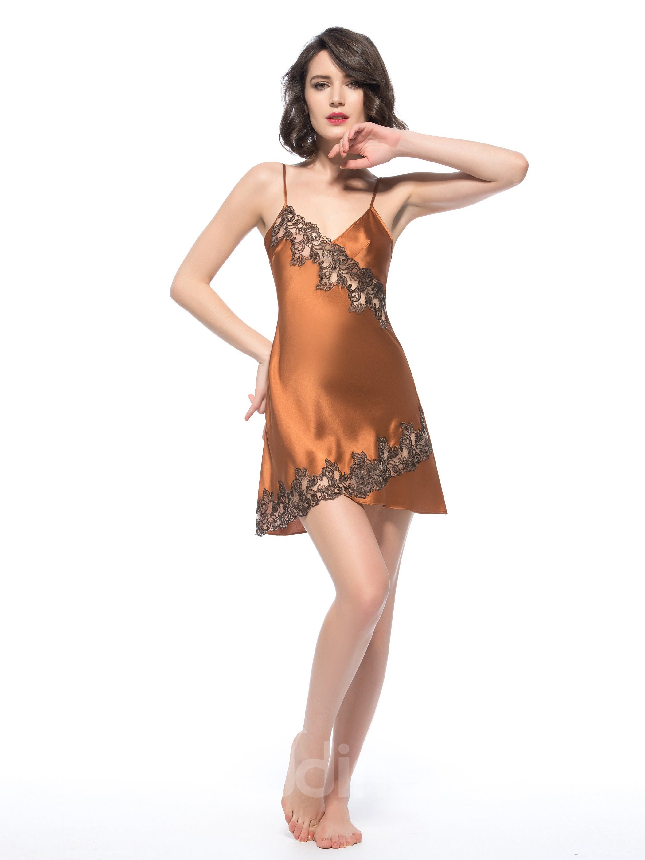 Stylish Flower Embroidery Lace Stitched With Silk Chemise