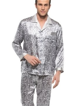Fantastic Casual Silver Open Collar Patch Pocket Silk Men Pajamas