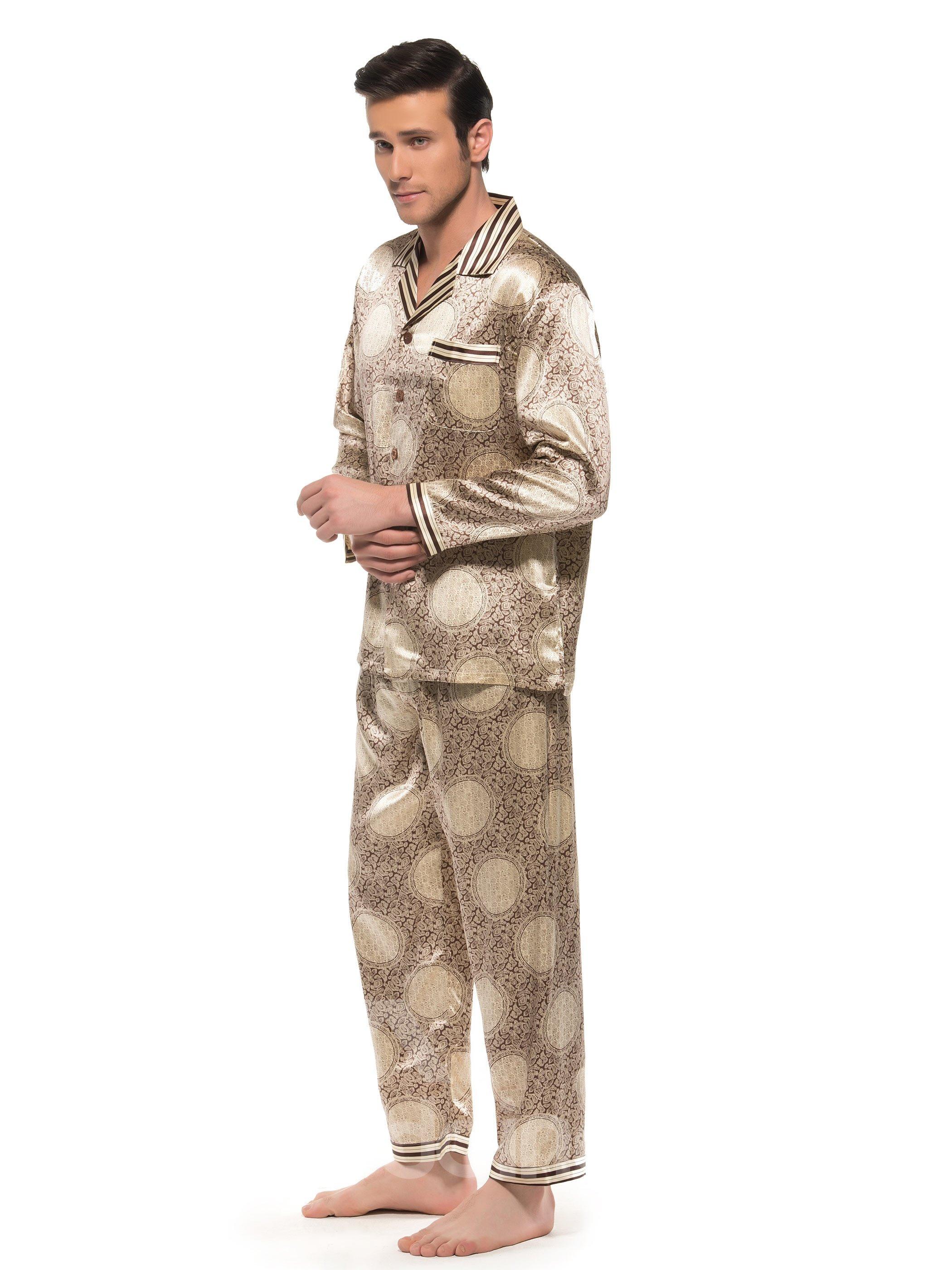 High Quality Circle Pattern Strip Edged Patch Pocket Silk Pajamas