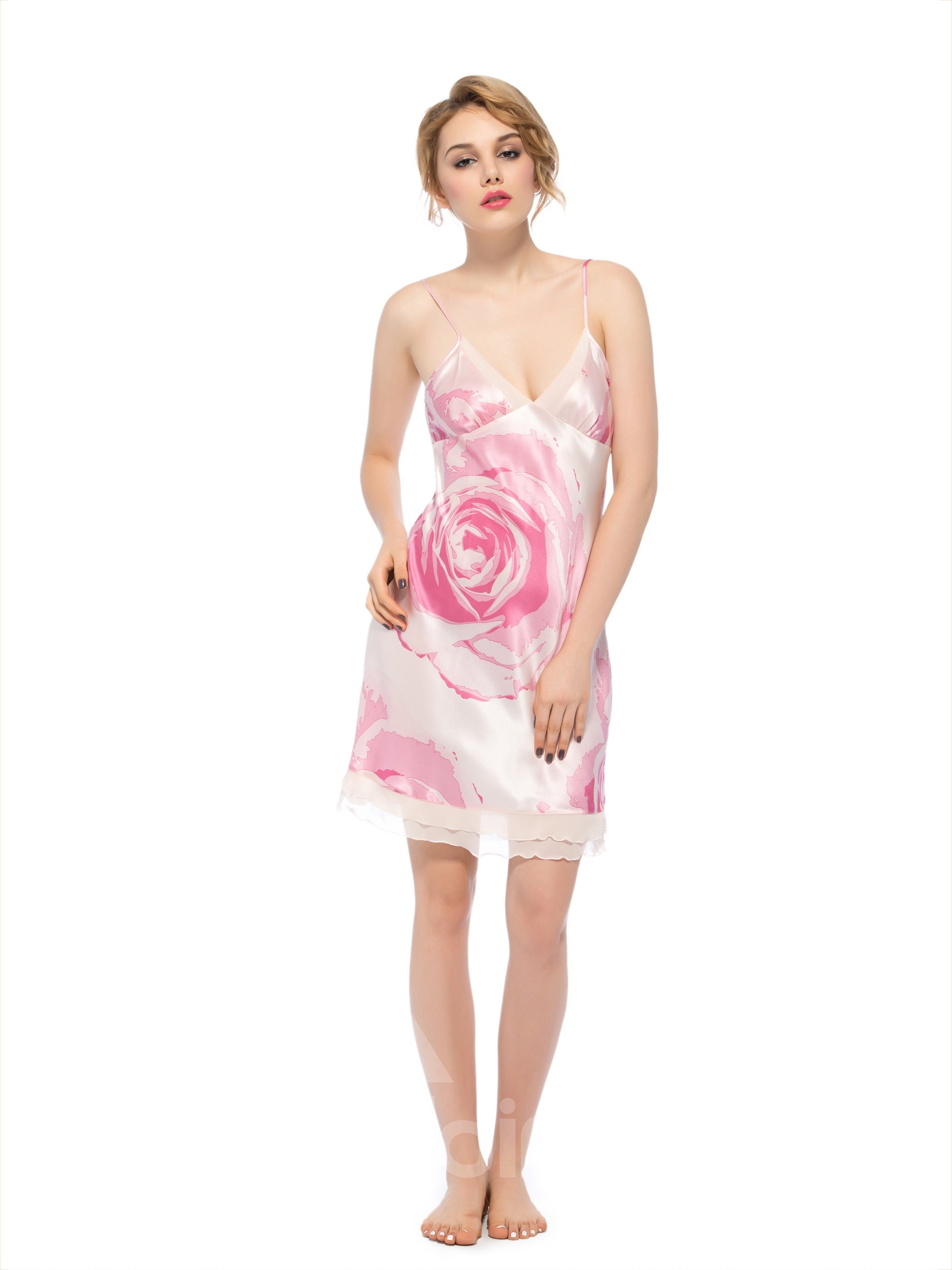 Deep V Big Pink Rose Back and Bust Double Hem Silk Chemise