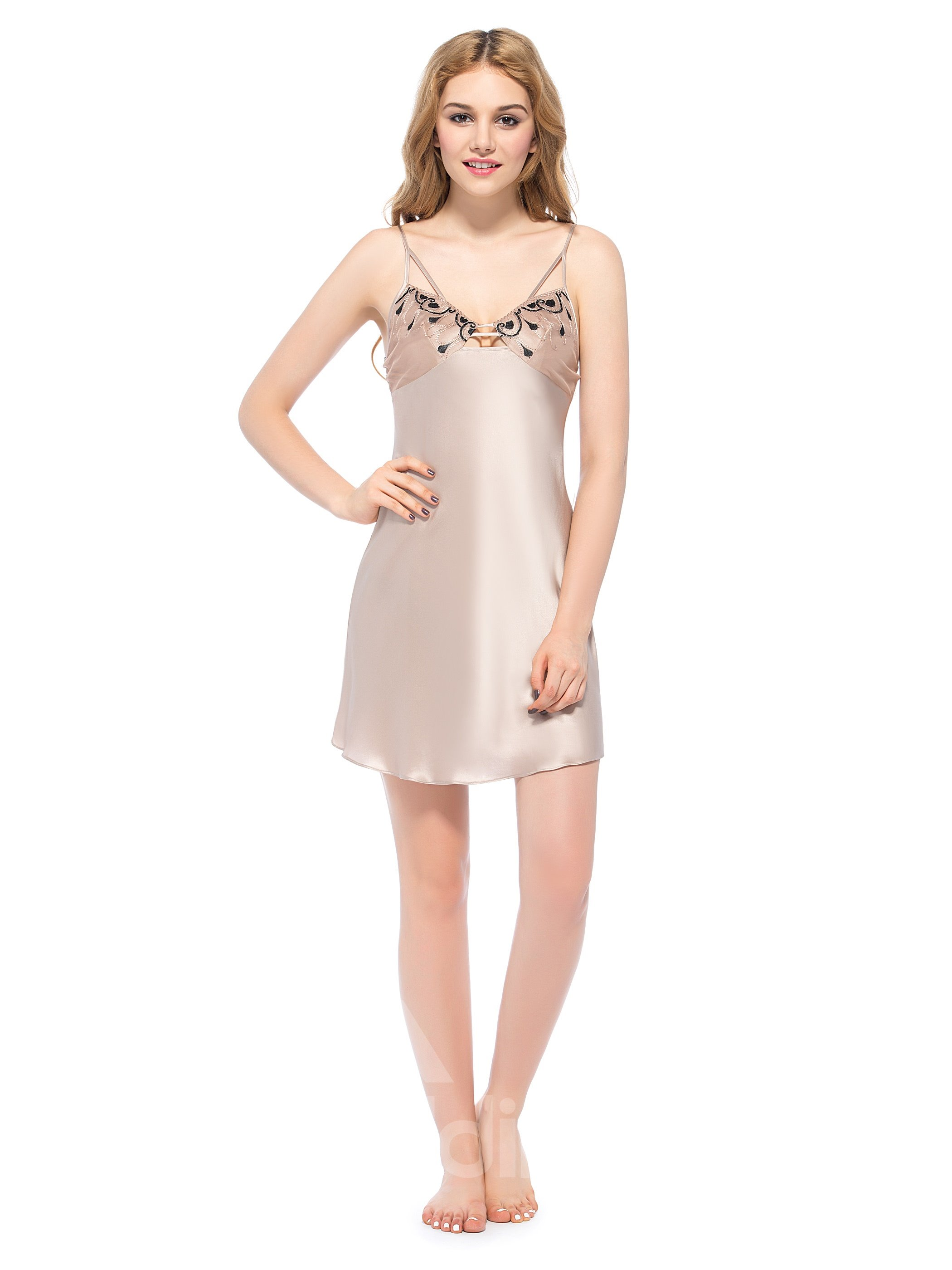 Classic Design Embroidery Bust Multi-Strap Silk Chemise
