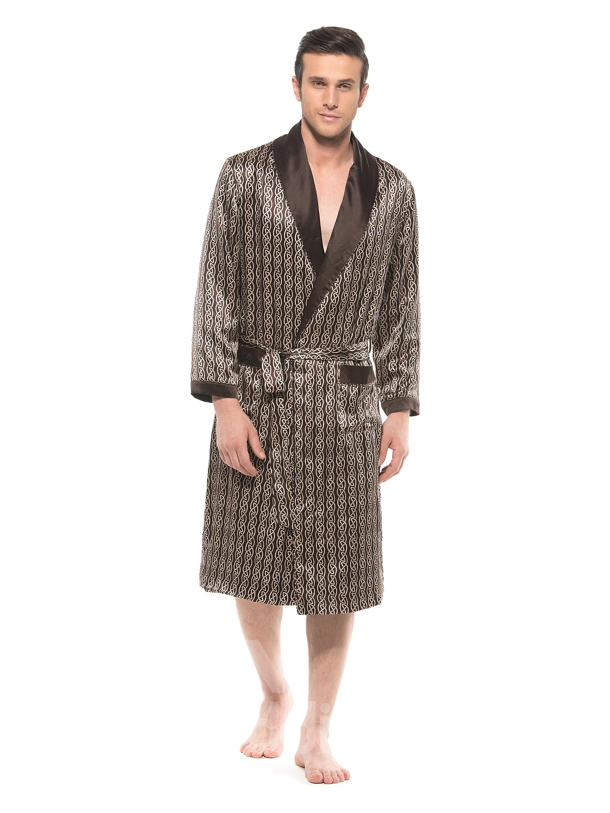 Top Class Chain Pattern Noble Coffee Double Layer Mulberry Silk Robe