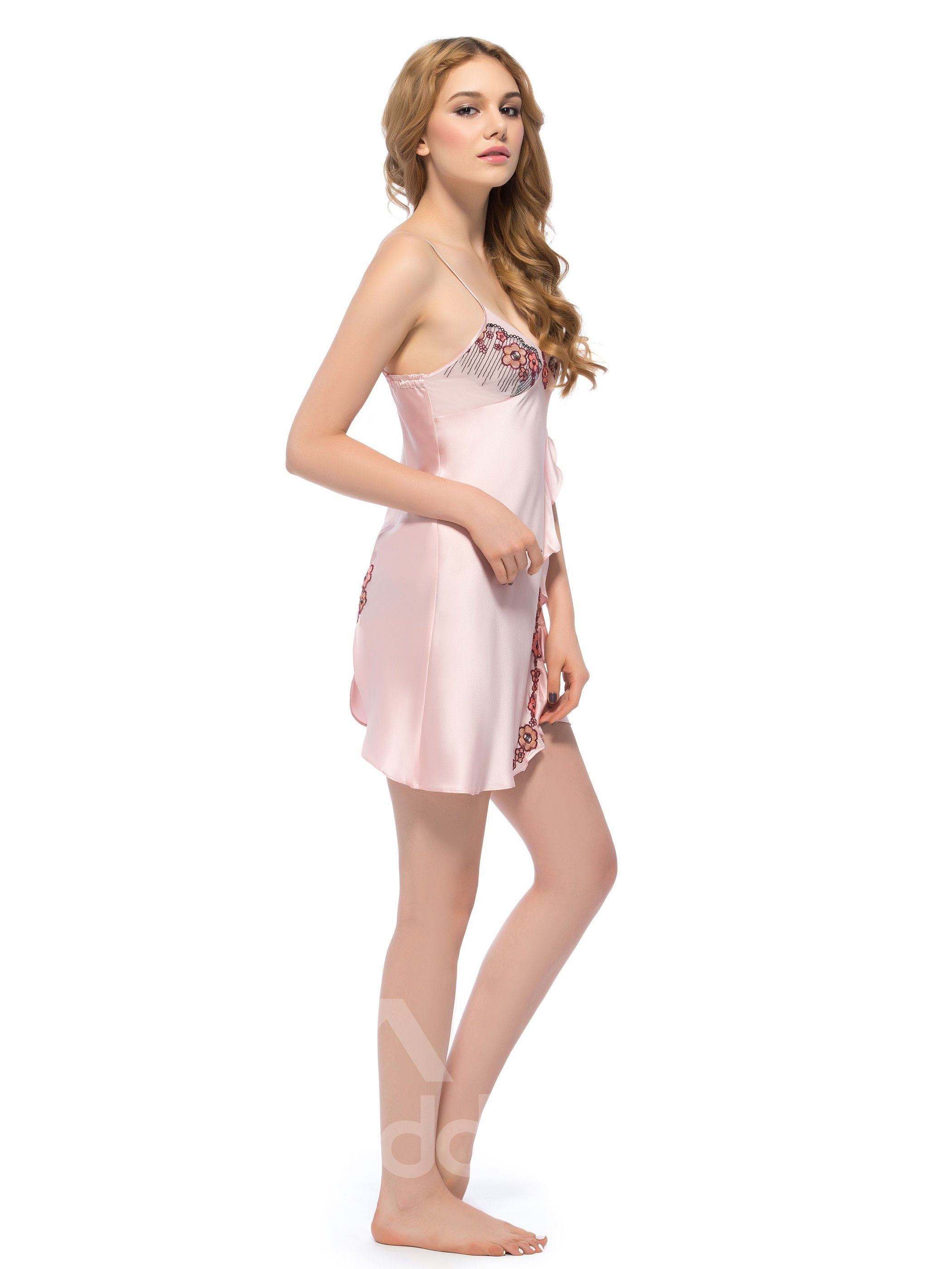 Girly Deep -V Open Hem Embroidery Bust Chemise