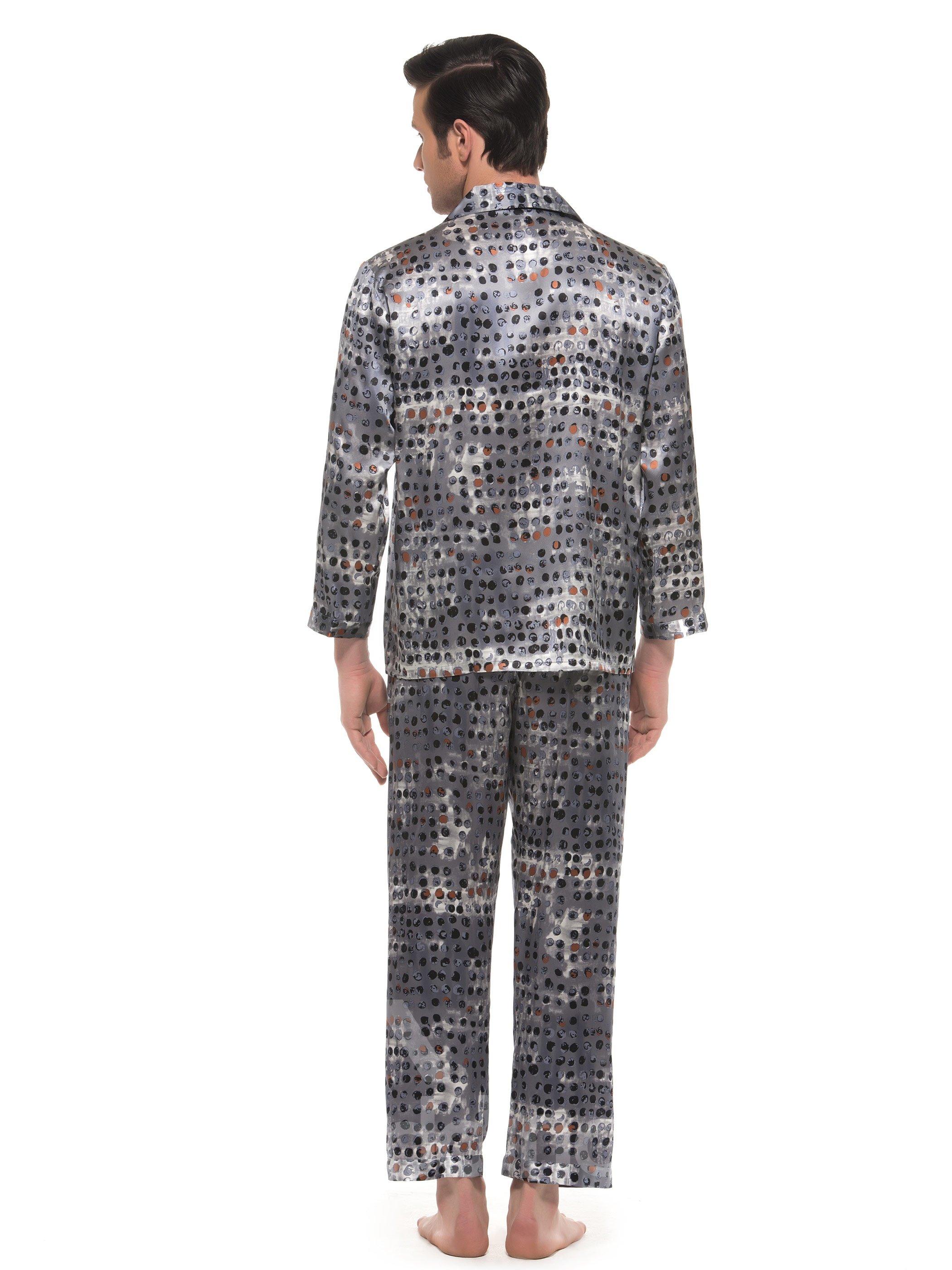 Elegant Chromatic Dots Print Open Collar Long Sleeve Silk Pajamas