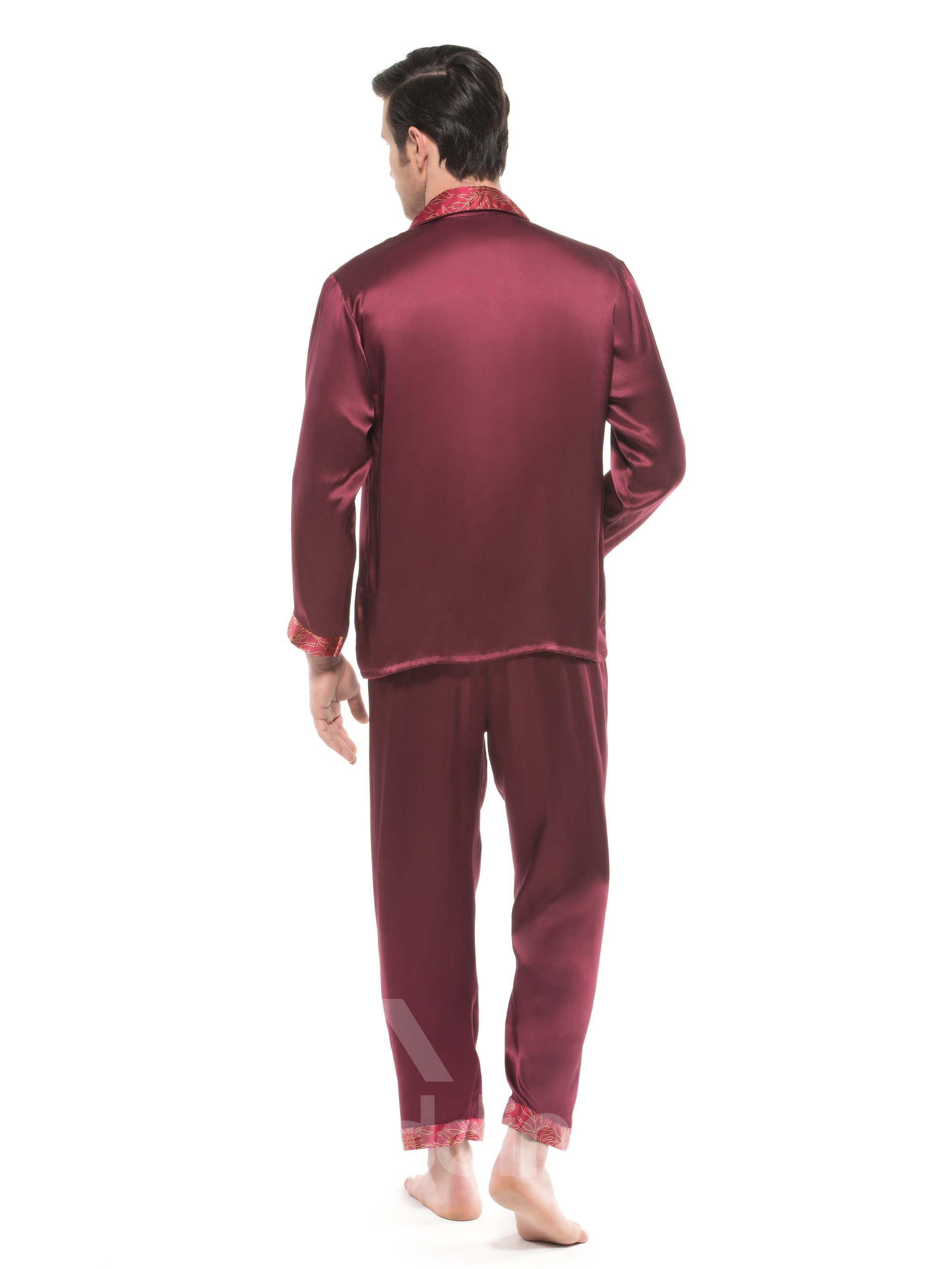 Burgundy Open Collar Floral Trim  Long Sleeve Silk Pajama set