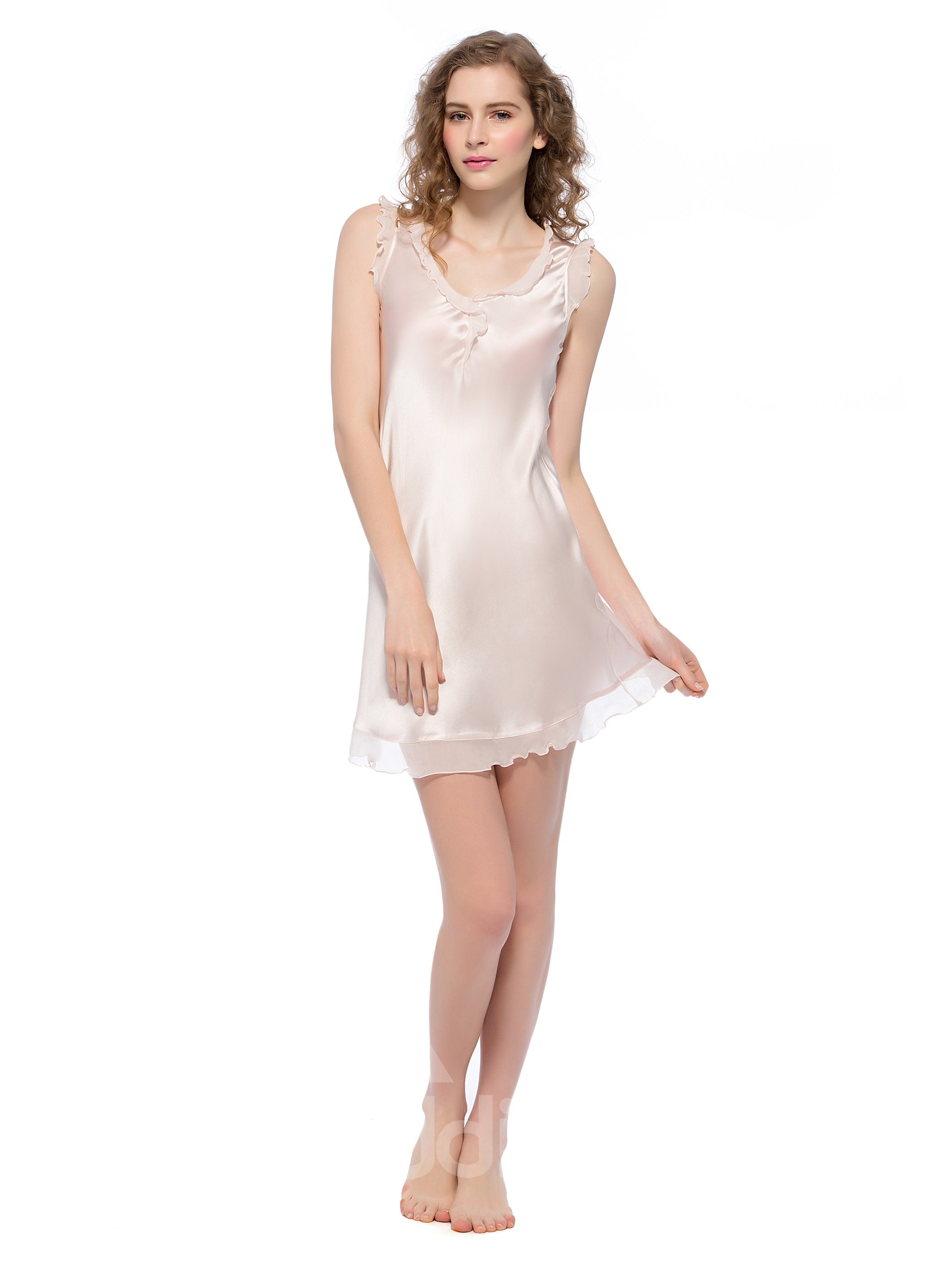 Pink Coupon Code >> Skin Pink Trim Floating Hem Mulberry Silk Chemise - beddinginn.com