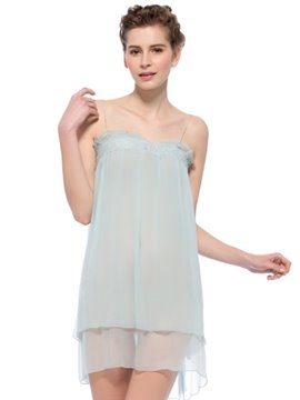 Light Blue Lace Trim Double Layer Mulberry Silk Chemise