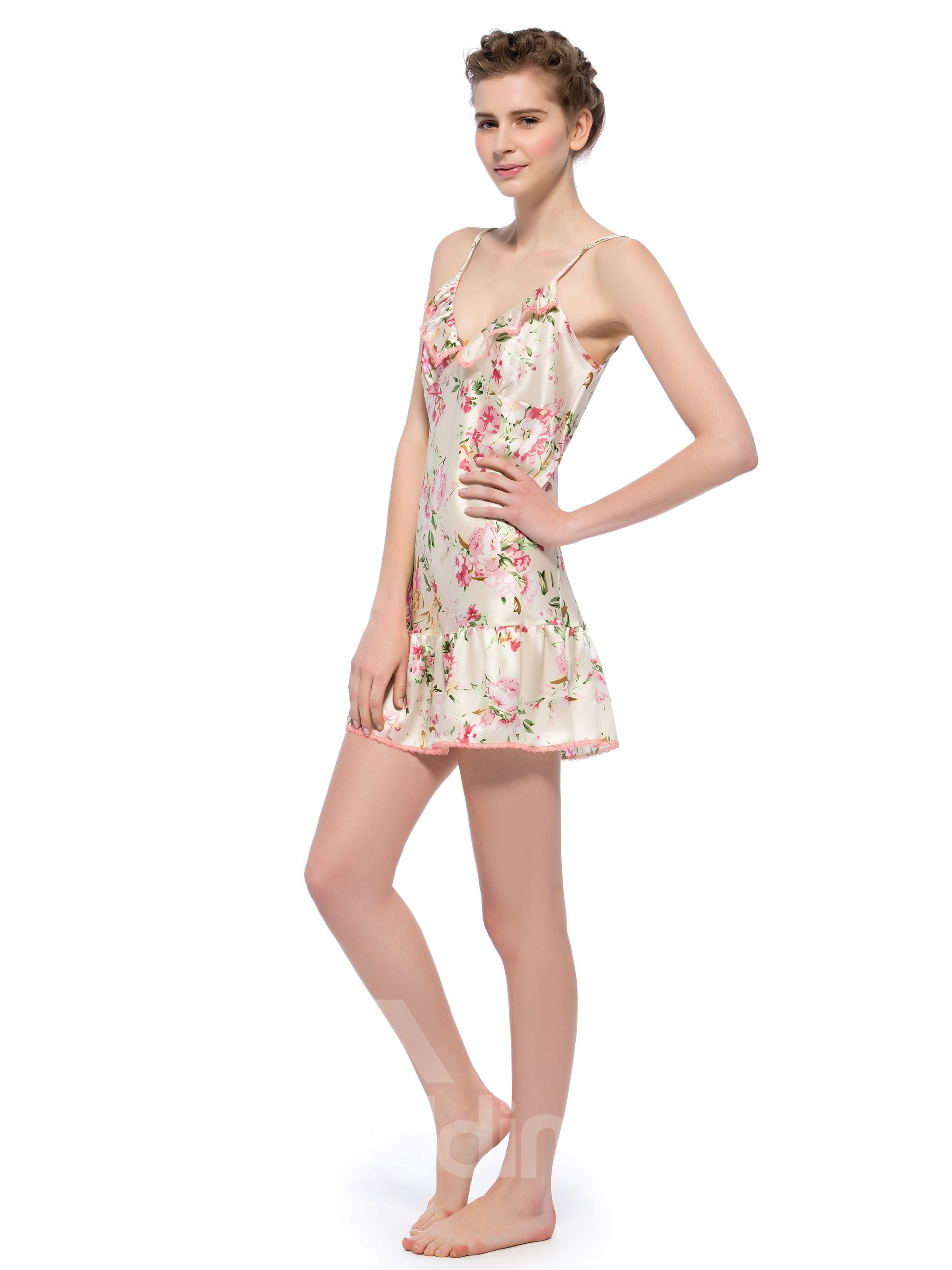 Floral Trim Floating Hem Mulberry Silk Chemise