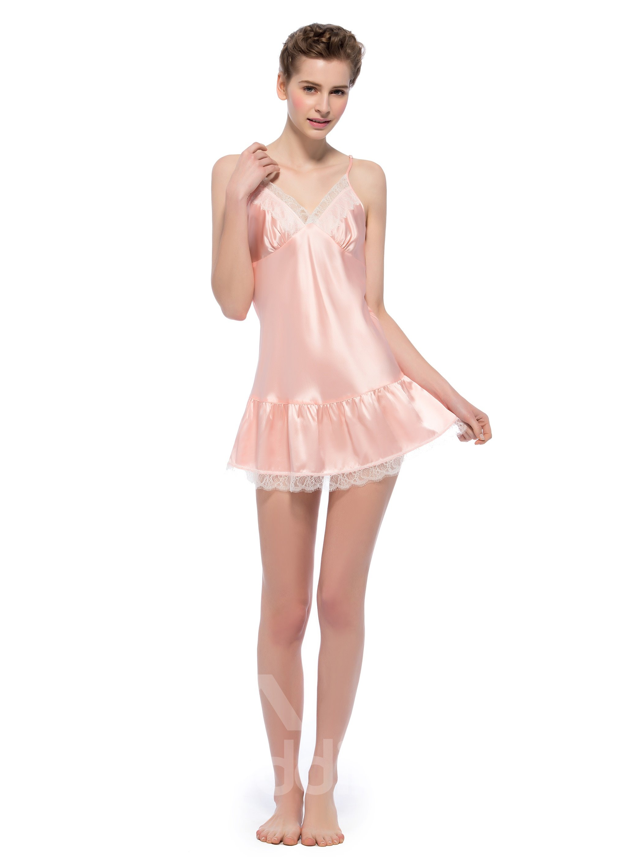 Sweet Lace Trim V Neck  Floating Hem Pink  Mulberry Silk Chemise