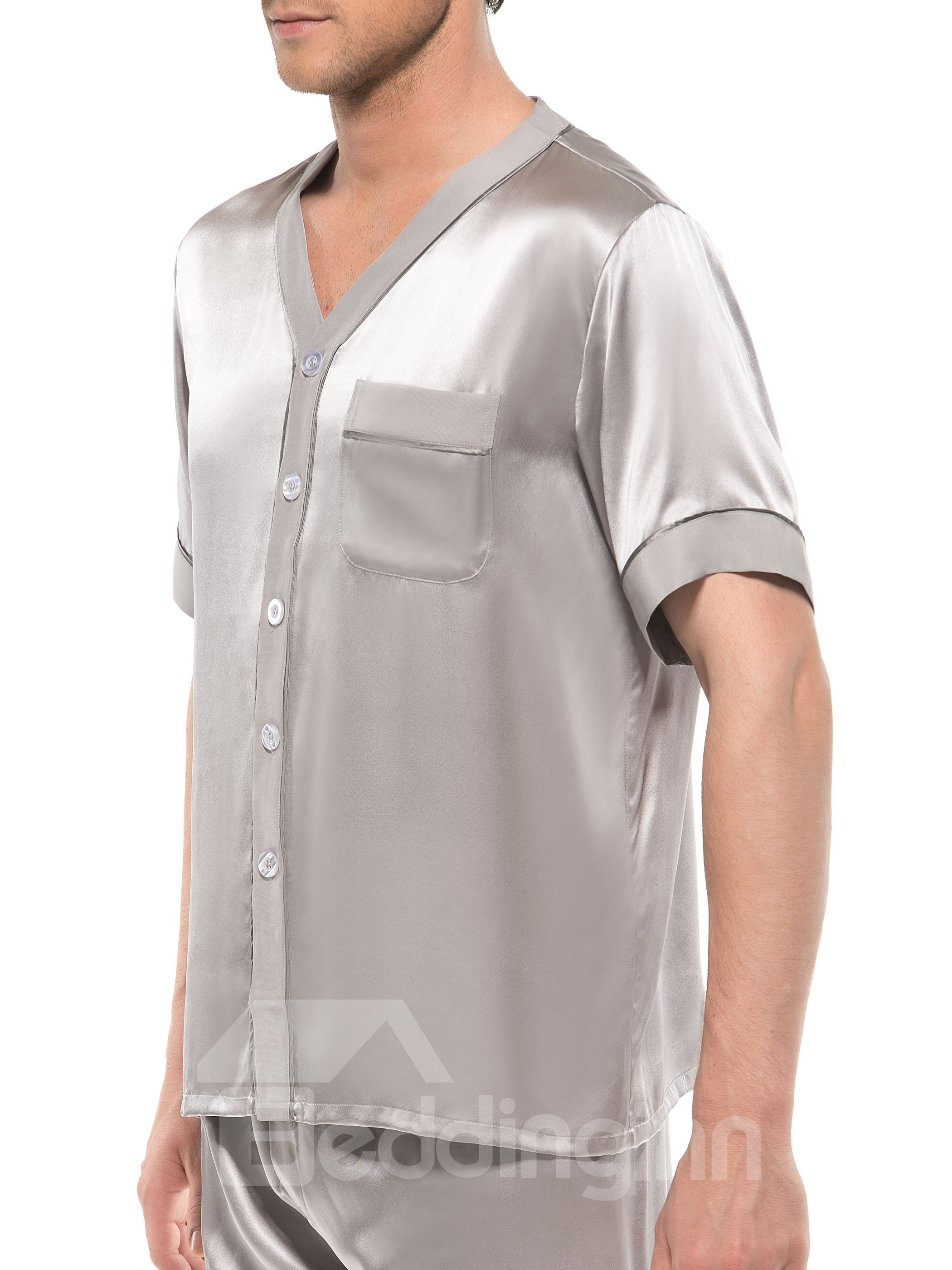 Luxury Sliver Pure Color Flat Collar Half Sleeve Silk Pajamas
