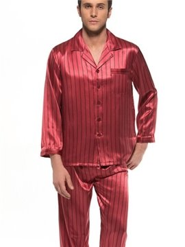 Luxury Burgundy Stripes Open Collar Long Sleeve Silk Pajamas