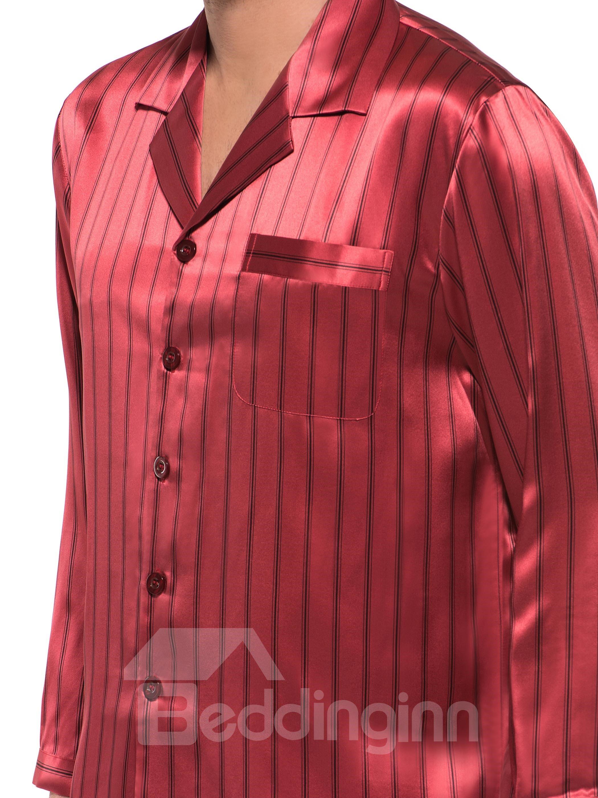 Luxury Burgundy Stripes Open Collar Long Sleeve Silk Pajamas