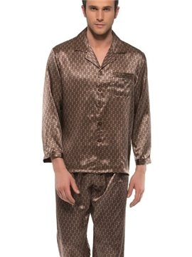 Elegant Bronze Checks Patterns Open Collar Long Sleeve Silk Pajamas