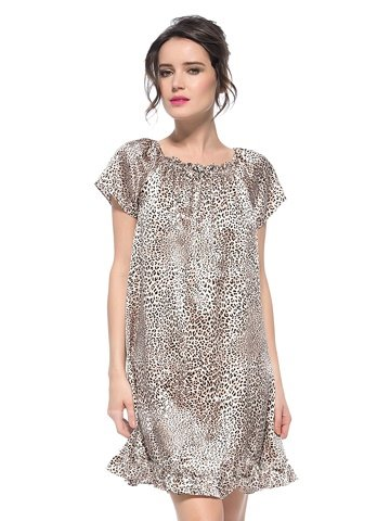 Tied Bust with Bowknot 1 Piece Leopard Loose Fit Silk Nightgown