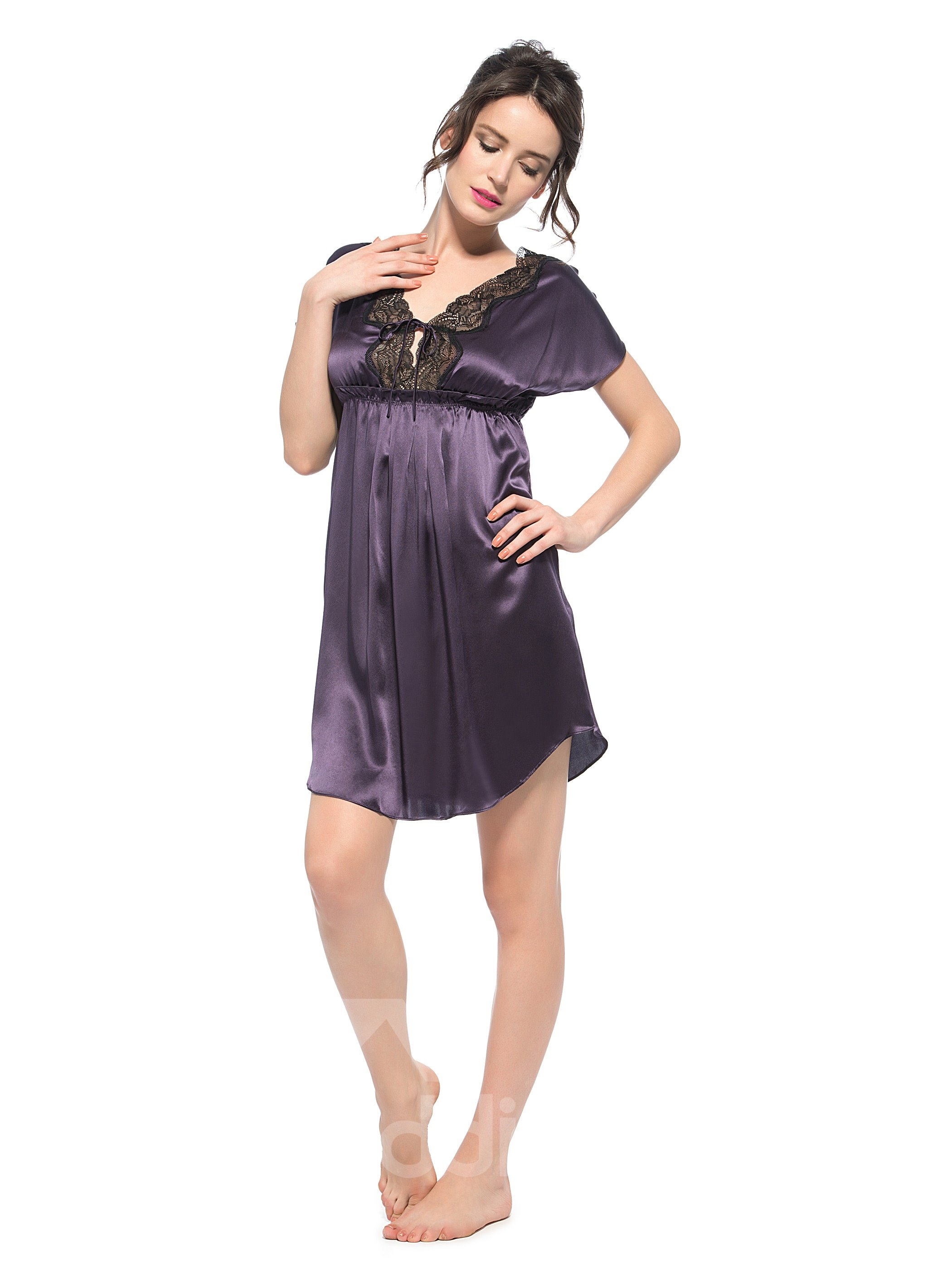 Sexy Half Open Bust and Lace Along V Neck Purple Silk Nightgown