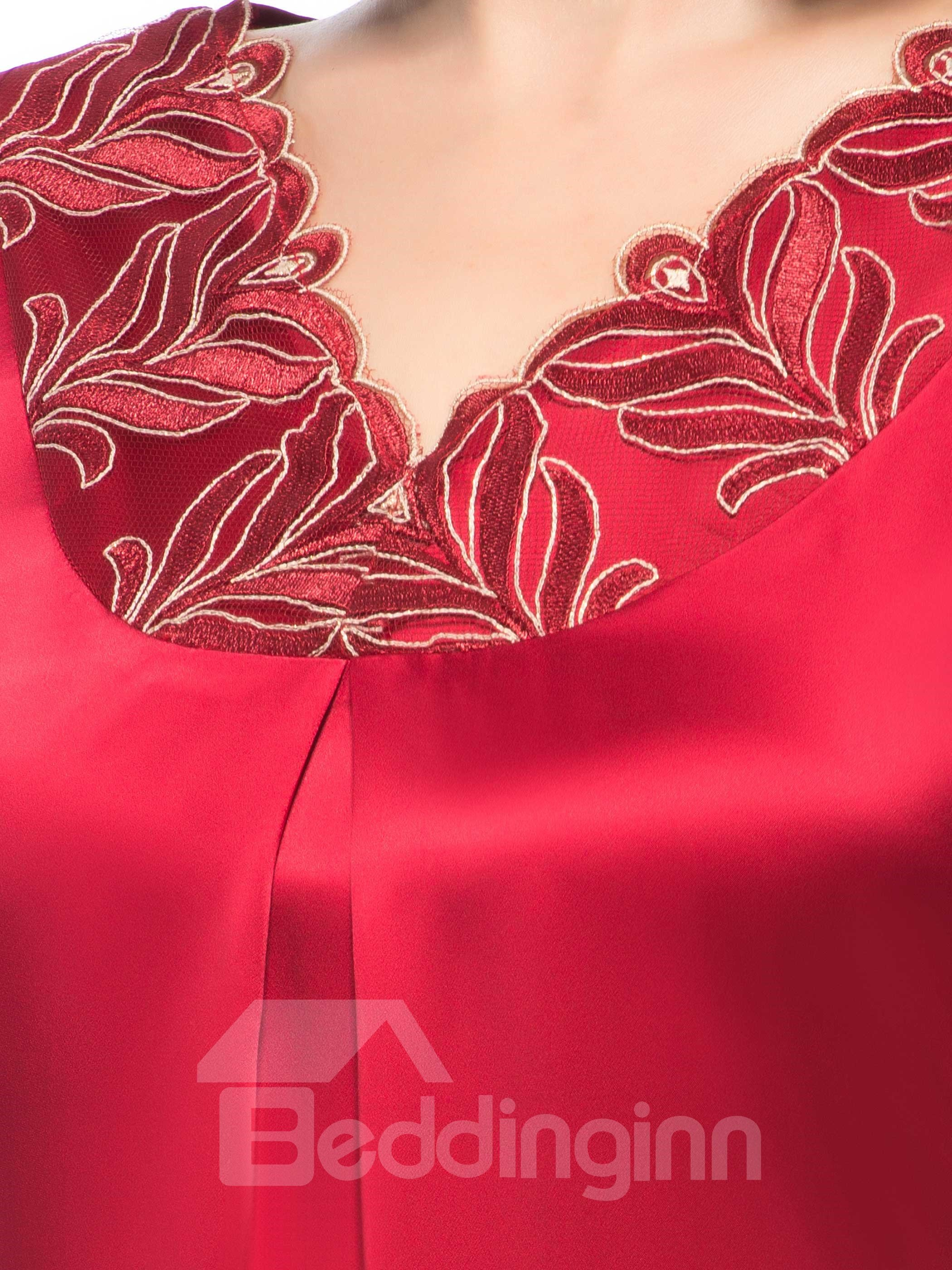 Gorgeous Golden Thread Embroidery Back Tie Silk Nigthgown