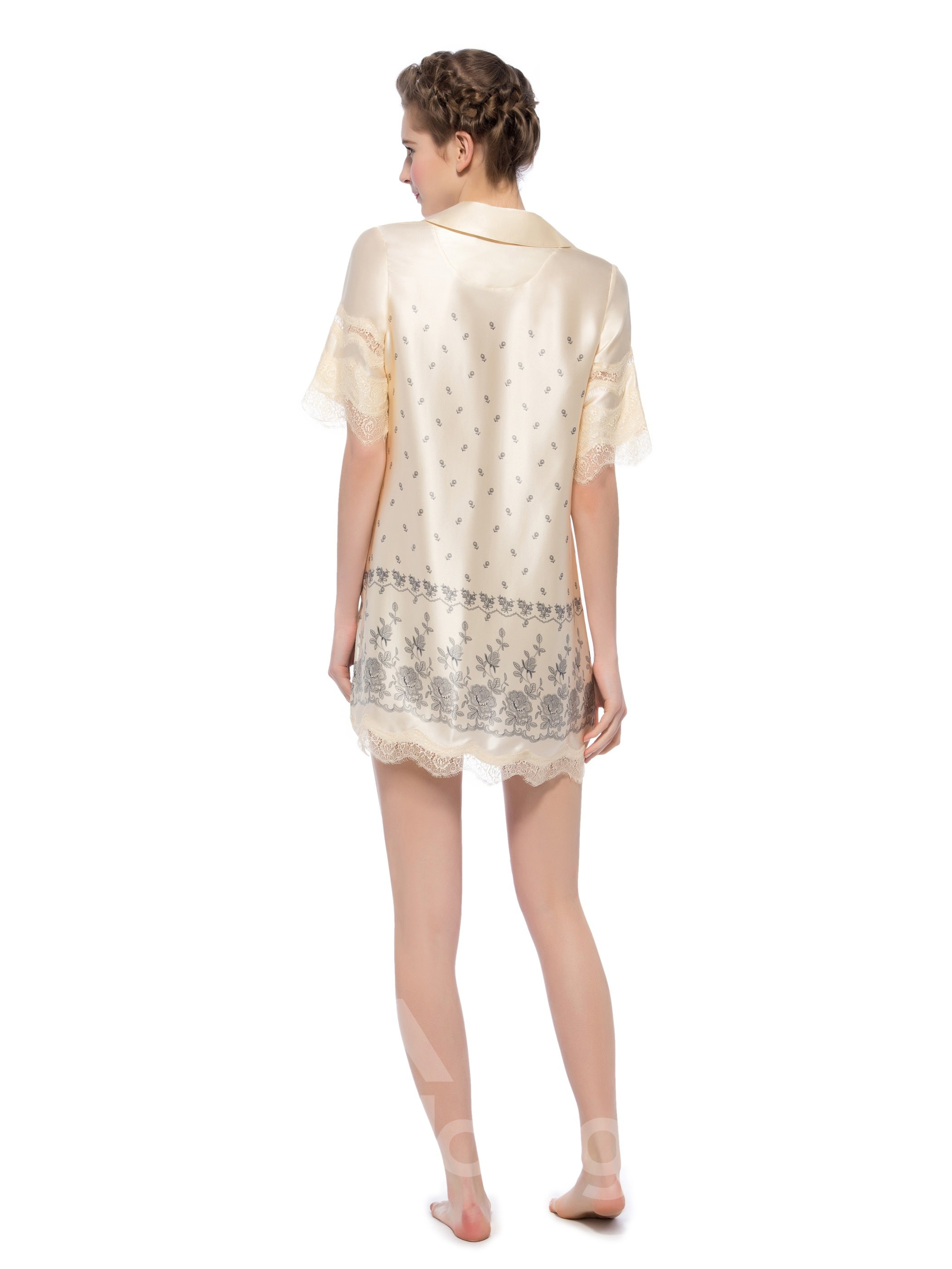 Lace Edged Short Sleeves Floral Pattern Silk Sleepshirt