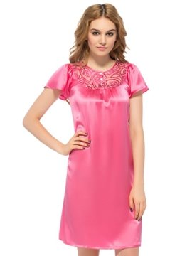 Sweet Rose Embroidery Lace Neckline and Flutter Sleeves Silk Nightgown