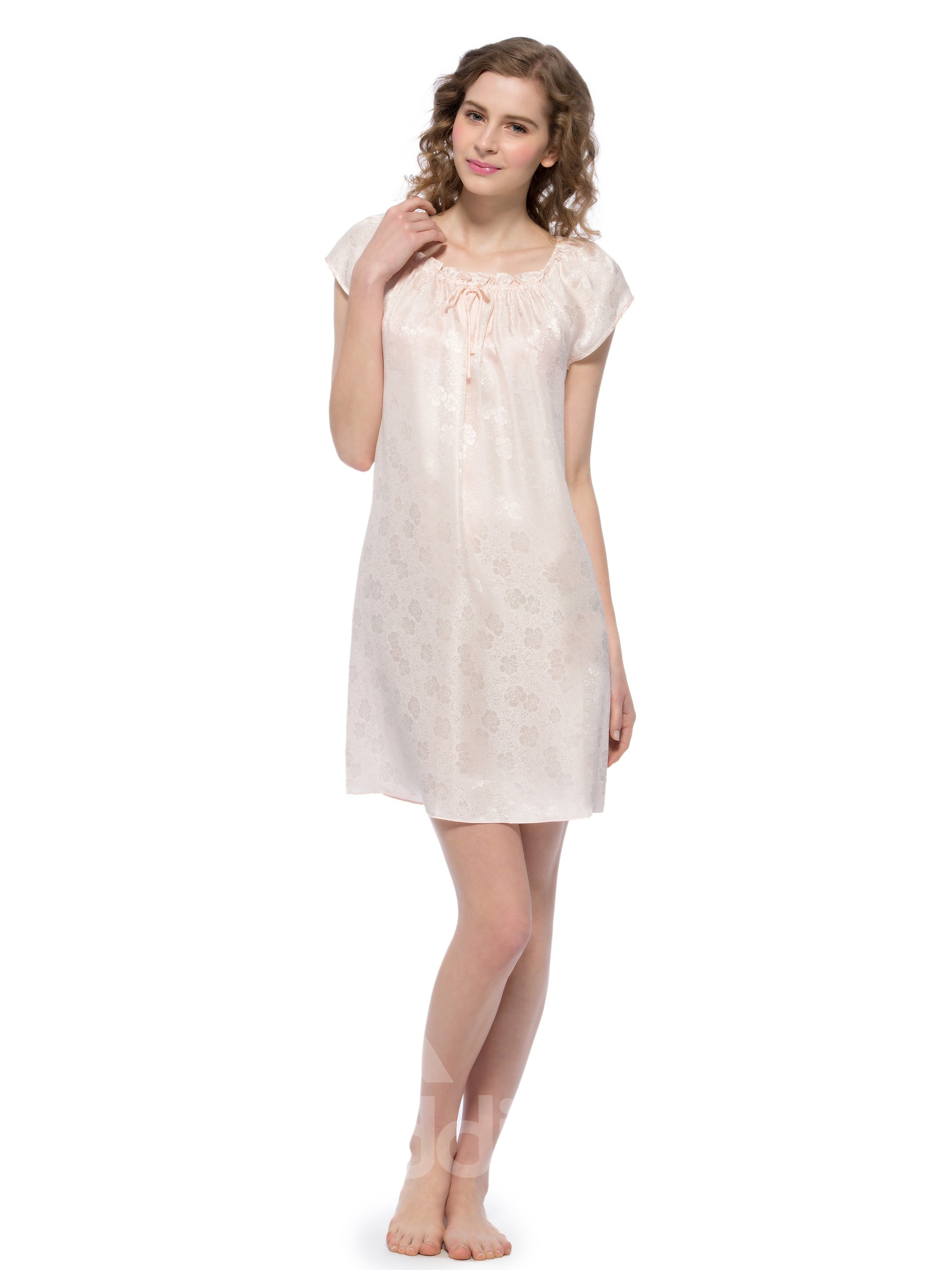 Skin Pink Floral Patterns Tied Bust Silk Nightgown