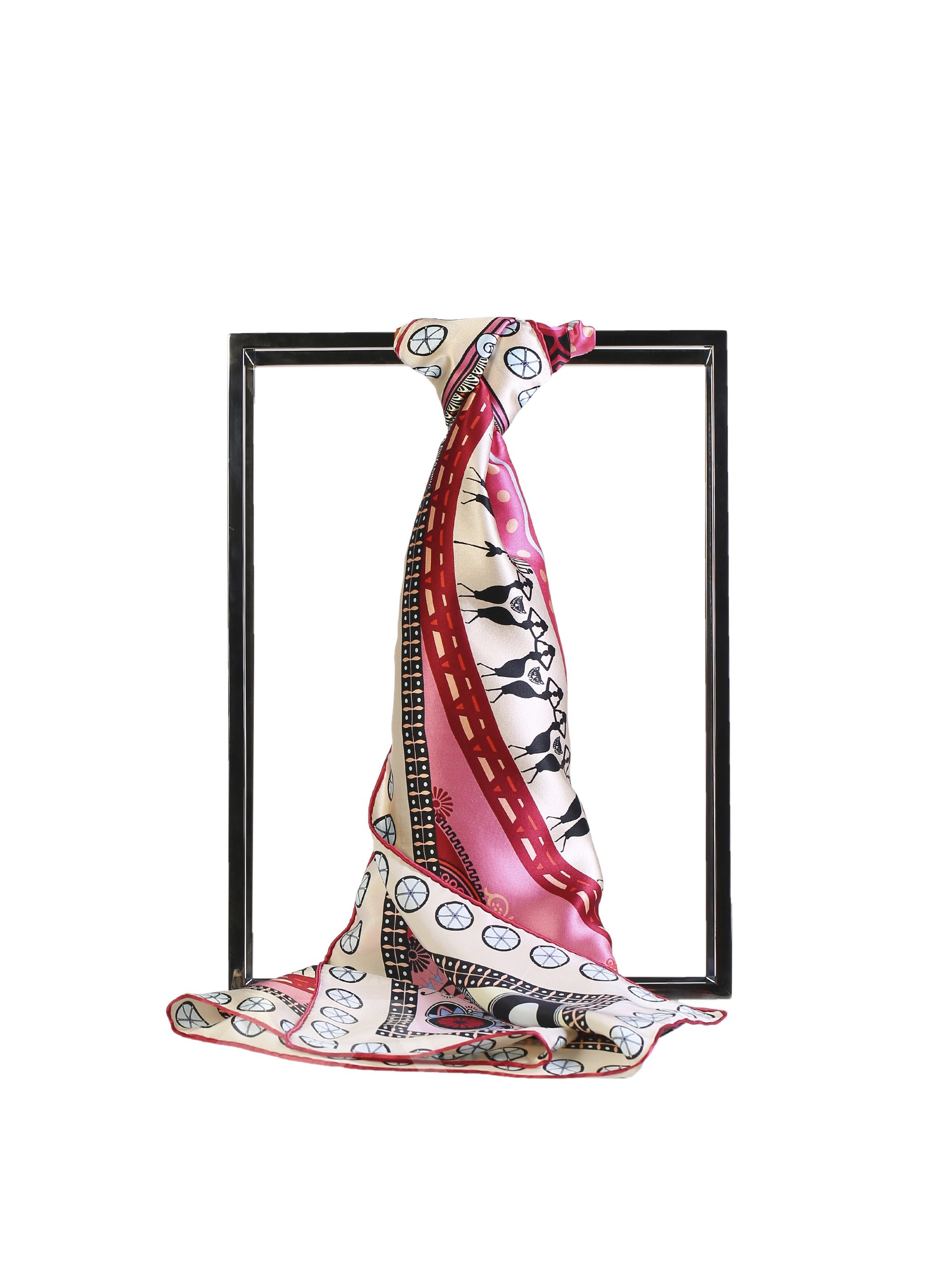 Mysterious Figure Half Red Half Pink Square Mulberry Beautiful Silk Scarf