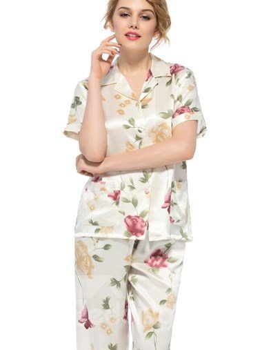 Wonderful Notched Collar Short Sleeves Silk Wrapped Button Pajamas ...